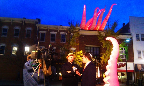Kraken on KGAN Live newscast - MC Ginsberg - photo by Ethan Anderson 02